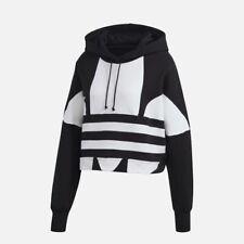 Adidas Originals Women's Large Logo Cropped Hoodie Black/White FS1314 d