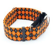 """Orange & Black Argyle Dog Collar 5/8"""" - 2"""" Width"""