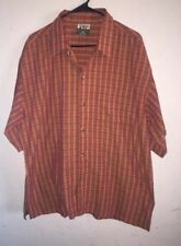 Adirondack Striped Button Front Men's Short Sleeve Shirt Sz XL
