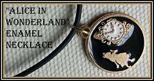 Handmade Alice in Wonderland BLACK & GOLD Enamel Pendant Necklace FREE POST