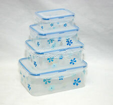 Blue 4PC Air Tight &Lock Food Storage Box Container Set Stack Microwaveable RA