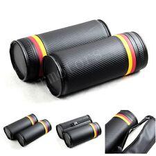 2Pcs Black Carbon Fiber German Flag Color Vip Auto Neck Cushion Pillow Headrests