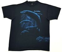 Vintage Sea World Dolphins Tee Black Size XL Single Stitch T Shirt