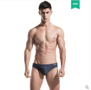 Men Solid Triangle Swimming Trunks Low-waist Sexy Pouch Beach Swimwear Swimsuit