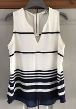 Next Nautical Blue Striped Top Size 10 Hardly Worn