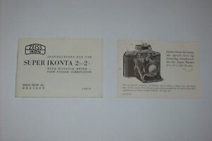INSTRUCTIONS MANUAL FOR THE ZEISS IKON SUPER IKONTA CAMERA WITH CLOSE UP LEAFLET