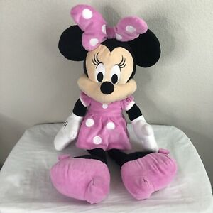 "Disney Store Minnie Mouse Plush Stuffed Doll Jumbo Large 30"" Soft Pink Polka Dot"
