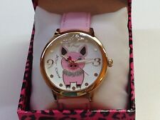NWT Betsey Johnson Pig Watch w/ Pink Leather Band