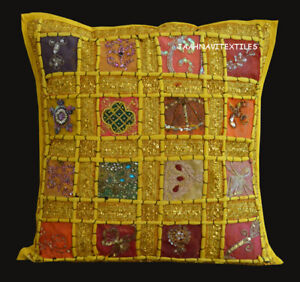 "Indian Cotton Handmade Cushion Pillow Cover 16X16"" Zari Work Bedroom Decorative"