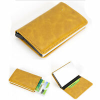 Pop-up Credit Card Holder Case RFID Blocking Metal Wallet Money Clip PU Leather
