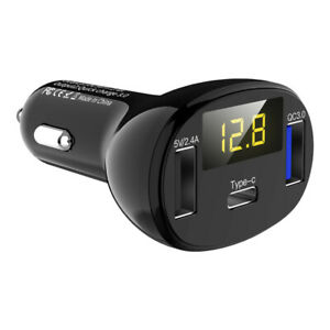 QC3.0 Dual Port USB Fast Car Charger Quick Charge Universal with Digital Display