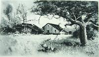 CALIFORNIA PIONEER HOMESTEAD RANCH FARM BARN YARD ~ Old 1888 Landscape Art Print