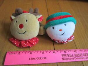 Eden Vintage Plush Snowman Reindeer Christmas Soft Stuffed Wrist Rattles Rudolph