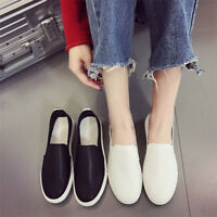Fashion Women Breathable Loafers Round Toe Solid Color Casual Flat Shoes Slip on