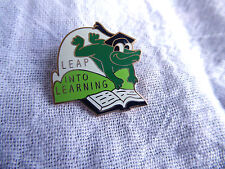 Cute Enamel Frog Pin - Leap Into Learning with Frog Leaping Over Book C. Sanders