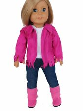 Hot Pink Western Cowboy Set with Boots for 18 inch American Girl Doll Clothes