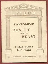 """Lyceum, London, 1928, """"Beauty & the Beast"""",Seacombe, Colin, Tubb etc,    yf29"""
