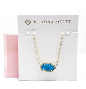 KENDRA SCOTT Elisa Gold 486 Necklace Bronze Veined Turquoise Magnesite Pendant