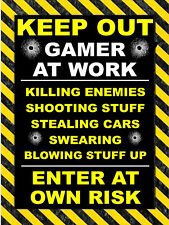 Keep Out Gamer, retro style metal sign/plaque Gaming xbox/play