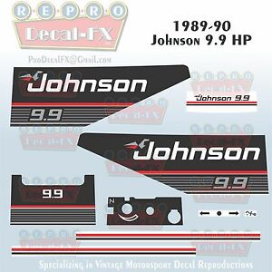 1989-90 Johnson 9.9 HP Outboard Reproduction 9 Pc Marine Vinyl Decal Sea-Horse