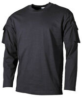 TACTICAL US ARMY MILITARY LONG SLEEVE T SHIRT COMBAT  sleeve pockets  BLACK