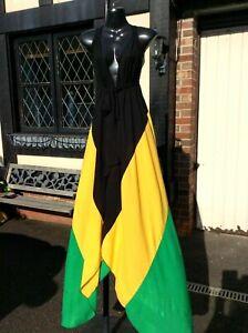 NEW ARRIVAL  Handmade Jamaican FLAG colour Mermaid Maxi dress.Size...12-16