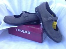 Trojan Mary Jane GREY slip on leather safety shoes steel toe UK 6 NEW no box