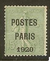 "FRANCE PREO 25""SEMEUSE POSTES PARIS 1920"" NEUF (x)"