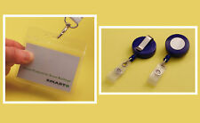 Visitor Pass Kit: PVC Holder & Blue Plastic Badge-Reel