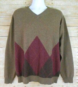 AMERICAN BLUE Pure 100% Cashmere Sweater Men's XL Brown Dark Red Argyle Pullover