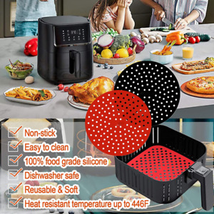 Reusable Air Fryer Liners Non-Stick Silicone Air Fryer Basket Square Round Mats