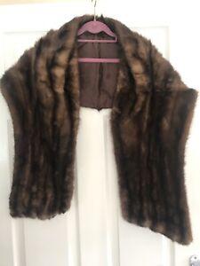 Vintage Real Fur Stole Wrap Jacket One Size Dark Brown Mink