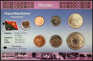 5.PANX01 - COINSET PAPOUASIE NOUVELLE GUINEE - 6 pièces 1 toea à 1 kina
