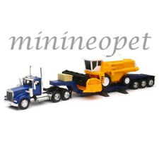 NEWRAY 11253 LONG HAUL TRUCKER KENWORTH W900 LOWBOY TRAILER FARM HARVESTER 1/32