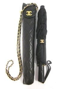 CHANEL rare umbrella + leather quilted handbag-case black
