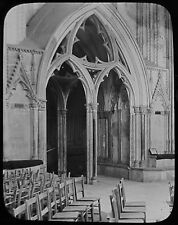 Glass Magic Lantern Slide WELLS CATHEDRAL CHAPTER HOUSE DOOR C1890 PHOTO ENGLAND
