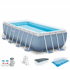 Intex 16ft X 8ft X 42in Rectangular Prism Frame Pool Set with Filter Pump Ladder