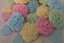 28 EDIBLE PRETTY PASTEL ROSES AND HEARTS Sugar cake topper Cupcakes Wedding