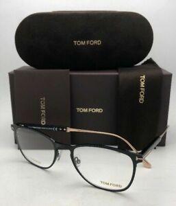 New TOM FORD Eyeglasses TF 5483 001 52-19 145 Shiny Black & Gold Titanium Frame