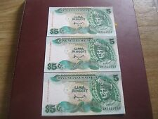 RM5 Ahmad Don sign 7th series - 3 pcs Running Nos QM 7522263 - 65 (UNC)