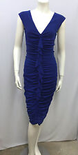 FUZZI DRESS GAULTIER NWT $335.00 BLUE RUCHED AND RUFFLES SIZE L FITS S/M