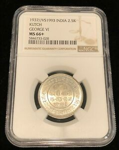 INDIA 1937 KUTCH 2.5 Kori, NGC MS 66+, Stunning Blast White GEM BU, George VI