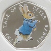 PETER RABBIT 2017 BEATRIX POTTER 50p UNCIRCULATED COLOURED COIN XMAS FILLER GIFT