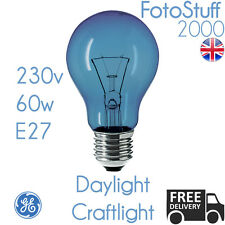 60w E27 Daylight Craftlight GLS Blue Filter Bulb GE 230v SAD Therapy Crafts Lamp
