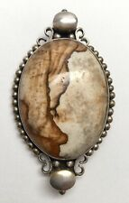 Sterling Silver Petrified Wood Pendant Pin #6405