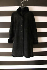 S by Searle Women's Black Buttons Up Genuine Suede / Faux Fur Coat Size S Small