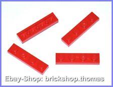 Lego 4 x Platte 1x4 Platten - 3710 rot - Red Plate Plates - NEU / NEW
