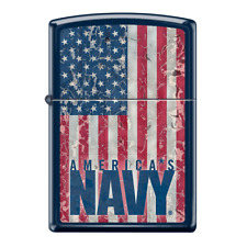 NAVY Zippo with Distressed American Flag Blue Matte Zippo Lighter