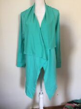 D And Co Active Turquoise Drapes Front Open Long Sleeve Women's Medium