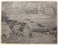 Karl Hofer Originalradierung Nächtliche Überfahrt 1906 Grafik Expressionismus xz